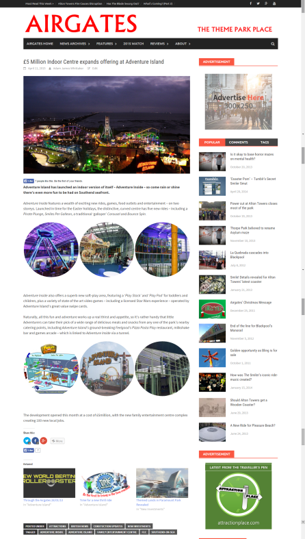 Airgates focuses on the theme park industry, including events and the latest investments.